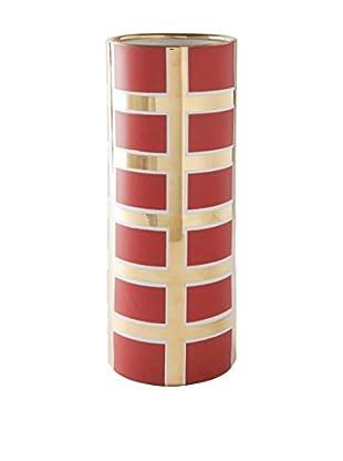 Waylande Gregory Grid Large Cylinder Vase, Red