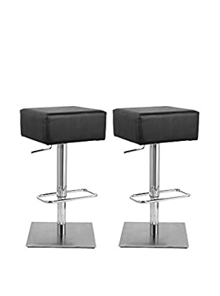 Manhattan Living Set of 2 Marshmallow Bar Stools, Black