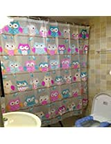 182x182cm Owls Design Waterproof Bathroom Shower Curtain With 12 Hooks