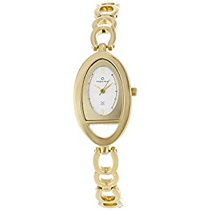 Maxima Formal Gold Analog Silver Dial Women's Watch - 24003BMLY