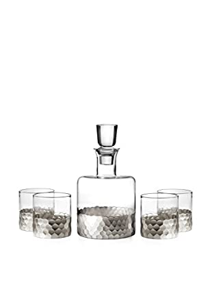 Fitz & Floyd Daphne 5-Piece Silver-Tone Whiskey Decanter Set