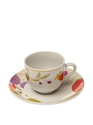 Tognana  Kaffeetasse mit Untertasse 6er Set Metropol Sibilla weiß/mehrfarbig
