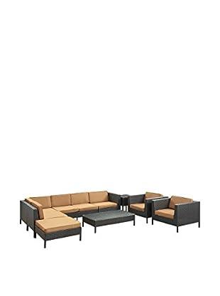 Modway La Jolla 9-Piece Outdoor Patio Sectional Set (Espresso/Mocha)