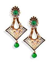 Golden N Green Stone Dangler Earrings