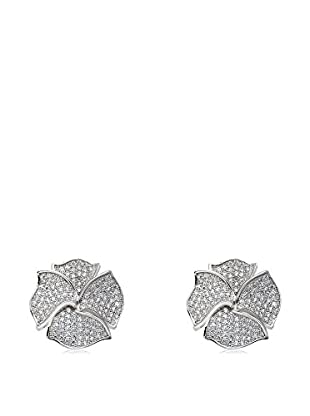 Riccova Rhodium Plated Micro-Pavé CZ Flower Earrings