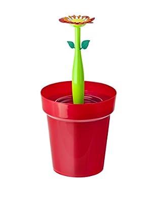 VIGAR Papelera Para Baño Flower Power Rojo / Verde