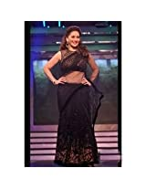 Abhaysri Fashion Bollywood Replica Madhuri Dixit Black Colour Georgette Fabric Party Wedding Wear Saree