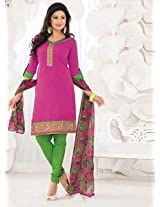 Saara Pink And Green Embroidered Dress Material - 148D6013
