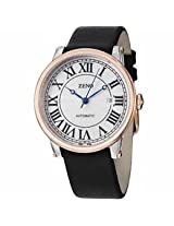 Zeno Roman Art Deco Automatic Silver Dial Black Leather Mens Watch 98209-Bico-I2