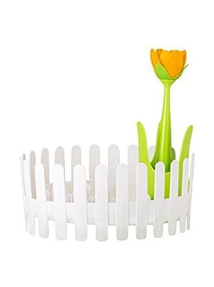 VIGAR Escurreplatos Flower Power Dish&Cutlery Blanco / Verde / Amarillo