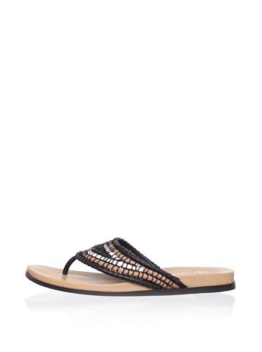 Lisa by Donald J Pliner Women's Gemina Flat Sandal (Black Combo)