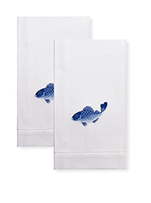 Henry Handwork Set of 2 Indigo Fish Embroidered Hand Towels, White