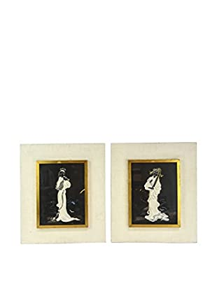 Set of 2 Gold-Framed Paintings, Crème/Black/White