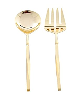 Cunill Beveled Handle Two-Piece Serving Set, Gold