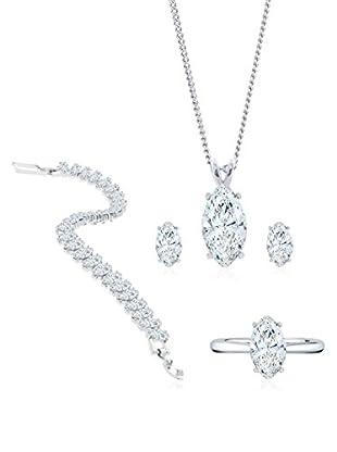 Diamond Style Set Kette, Anhänger, Armband, Ohrringe und Ring Marquise Studs