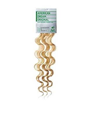 American Dream Einteilige, leicht gewellte 100% Echthaar-Clip-In-Extensions Farbe 22 - Strandblond - 46cm, 1er Pack (1 x 1 Stück)