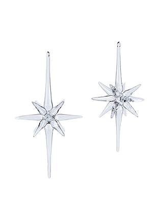 Melrose International Set of 2 Glass Star Ornaments