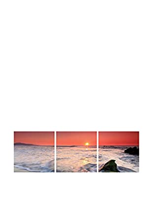 LO+DEMODA Leinwandbild 3 tlg. Set Sun Red See