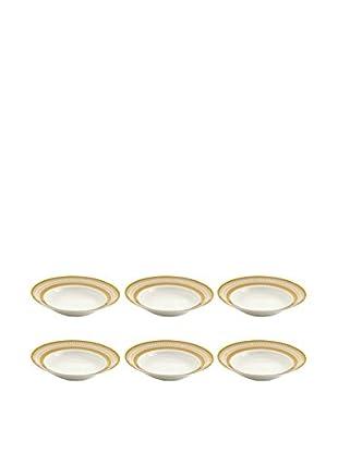 10 Strawberry Street Set of 6 Iriana Rim Soup Bowls (White/Gold)
