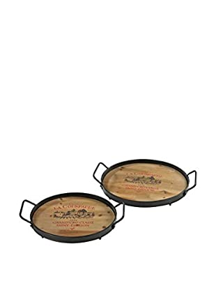 Set of 2 Wine Lovers Trays, Wood/Rust