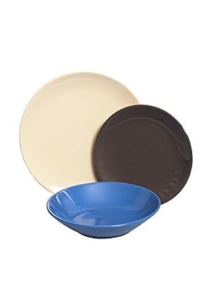 Brunch Time Geschirr 18 tlg. Set elfenbein/kaffee/blau