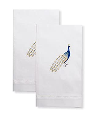 Henry Handwork Set of 2 Peacock Embroidered Hand Towels, White