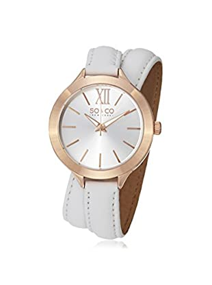 SO & CO New York Women's 5047.3 SoHo Gold-Tone Stainless Steel Watch with White Wraparound Leather Band