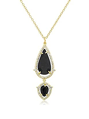 Riccova 14k Gold Plated Cz Detailed Blue Sand Stone Teardrop Pendant Chain Necklace