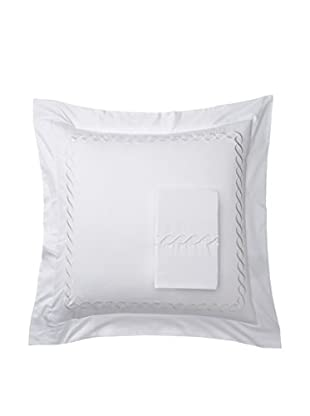 Mélange Home Rope Embroidered Egyptian Cotton Euro Shams, Ivory