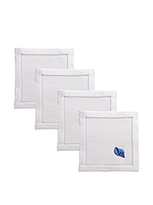 Henry Handwork Set of 4 Indigo Seashell Embroidered Cocktail Napkins, White