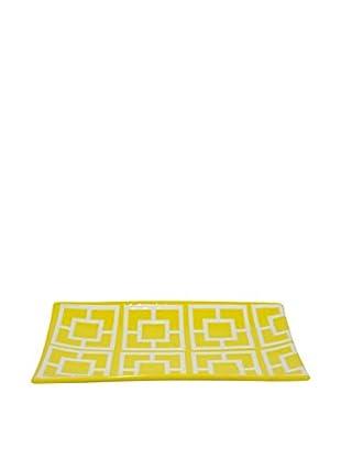 Three Hands Geometric Ceramic Tray, Yellow/White