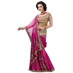 Dark Pink Net Lehenga Style Saree with Blouse