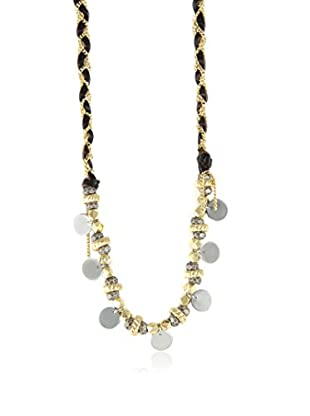 Ettika Brown Braided Leather and Beads Necklace