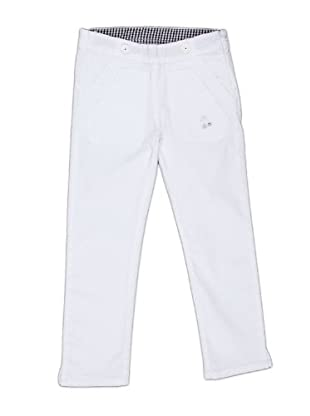 Naf Naf Chevignon Pantalón Bordado Costuras (blanco)