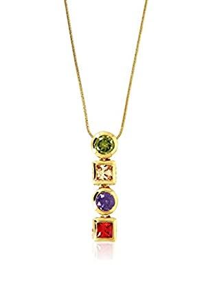 Shiny Cristal Halskette  vergoldetes Metall 24 kt/grün