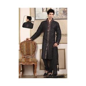 Black Raw Silk Embroidered Kurta with Churidar