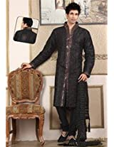 Black Raw Silk Embroidered Kurta with Churidar