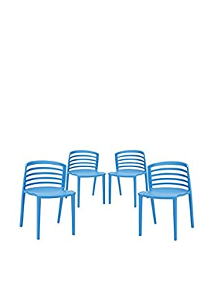 Modway Set of 4 Curvy Dining Chairs, Blue