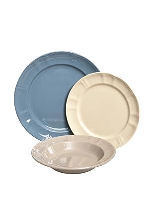 Enjoy Home  Geschirr 18 tlg. Set himmelblau/ecru/naturweiß