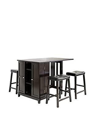 Baxton Studio Aurora 5-Piece Pub Table Set, Dark Brown