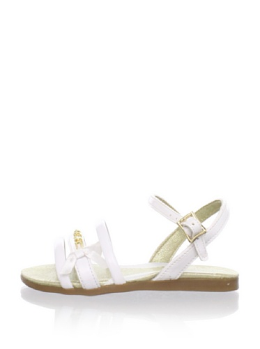 Pampili Kid's Triple Strap Sandal with Ribbon Bow (White)