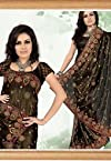 Black Shimmer Faux Georgette Saree with Blouse