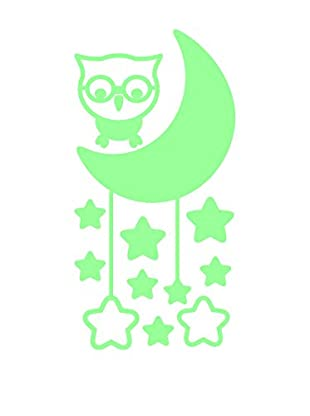 Ambiance Live Wandtattoo Cute Owl With Moon And Stars Glow In The Dark