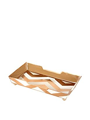 Jayes Chevron Guest Towel Tray, Gold