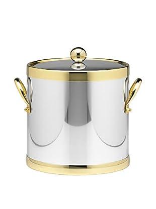 Kraftware Polished Chrome & Brass 3-Qt. Double Metal Handled Ice Bucket