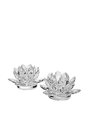 Godinger Lotus Candlesticks, Clear Crystal