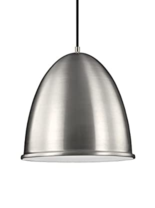 Sea Gull Lighting Hudson Street 1-Light LED Pendant, Satin Aluminum