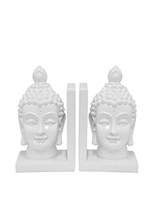 Three Hands White Buddha Bookends