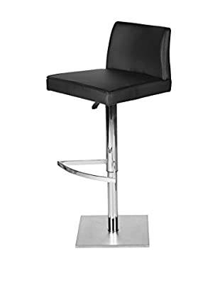 Furniture Contempo Medusa Bar Stool, Black/Brushed Nickel