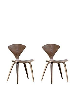 Manhattan Living Set of 2 Wooden Side Chairs, Walnut